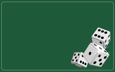 Background dice gambling green, vector