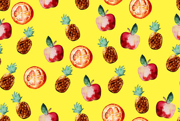 Beautiful pattern with hand drawn elements - cute pineapples, apples and orange slices watercolor on white isolated background. Illustration.
