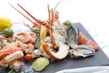 Acrylic Prints Seafoods Fresh cooked seafood on a platter