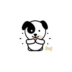 Cute Dog Eat Dinner vector illustration, Baby Puppy logo, new design art, Pet Food Black color sign, simple image, picture with animal, ossicle, lines and rays.