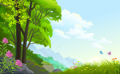 Beautiful forest with grasslands, cliffs and mountains