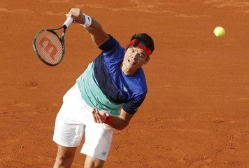 Tennis - French Open - Roland Garros - Milos Raonic of Canada v Adrian Mannarino of France - Paris