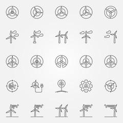 Wind turbine icons set