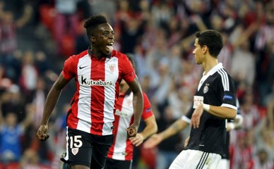Athletic Bilbao's Inaki Williams celebrates a goal during their Europa League Group L soccer match against Partizan at San Mames stadium in Bilbao