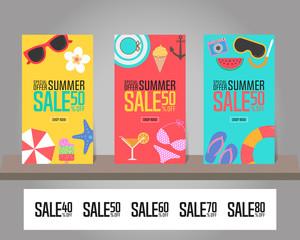 Summer sale background for template design. Vector illustration.