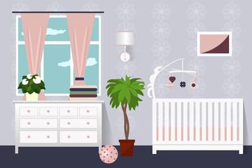 The interior of a child's bedroom . Flat design. Vector illustration. Cartoon.