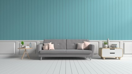 Living room with sofa, pillows and books. The blue back wall on a white wooden floor, 3D rendering