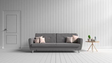 Interior design includes a sofa in a white room,3D Rendering