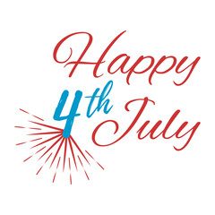 Happy 4 th July Greeting Card. Vector illustration.