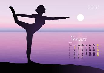CALENDRIER - 2018 - Yoga - Zen - Janvier