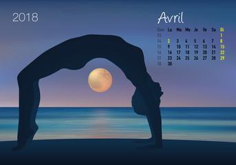 CALENDRIER  - 2018 - Yoga - Zen - Avril