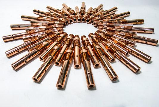 Contact tip welding screw set copper