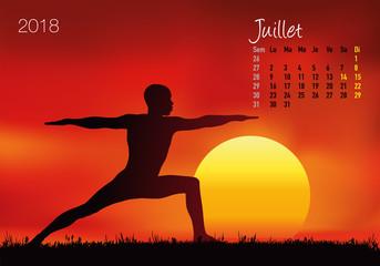 CALENDRIER - 2018 - Yoga - Zen - Juillet