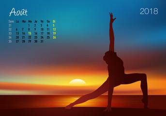 CALENDRIER - 2018 - Yoga - Zen - Août