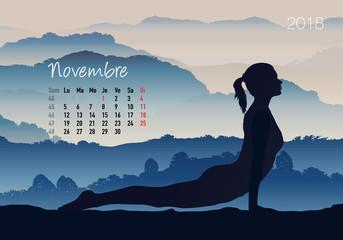 CALENDRIER - 2018 - Yoga - Zen - Novembre