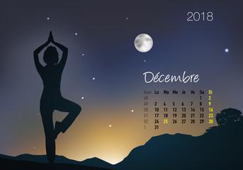 CALENDRIER - 2018 - Yoga - Zen - Décembre
