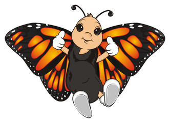 Butterfly, monarch, wings, flying, insect, nature, cartoon, background, white, isolated, black, orange, face, hands, emotion, face, gesture, happy, emotion, cool