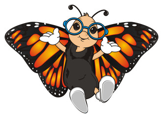 Butterfly, monarch, wings, flying, insect, nature, cartoon, black, orange, white, happy, face, hands, blue, round, glasses