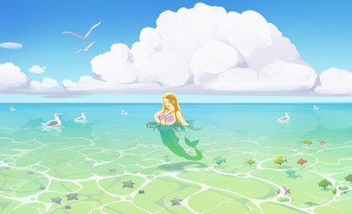 beautifull illustration of a seascape with blue water and a cartoon mermaid