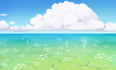beautifull illustration of a seascape with blue water and sealife in it