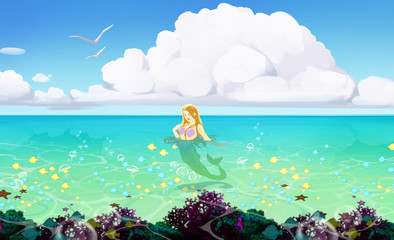 beautifull illustration of a seascape with blue water and a mermaid