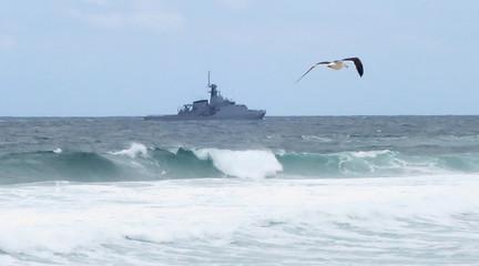 Brazilian navy vessel patrols the sea ahead of the 2016 Rio Olympic games in Rio de Janeiro