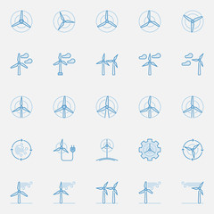 Wind turbine blue icons