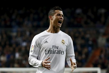 Real Madrid's Cristiano Ronaldo reacts during the match