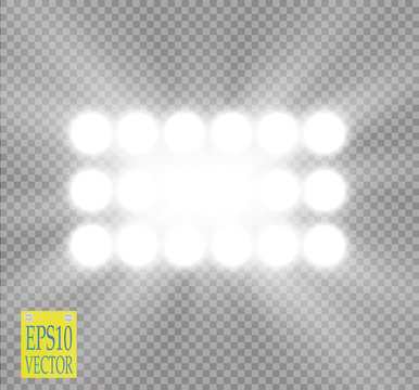 White vector spotlight light effect on transparent background. Concert scene with sparks illuminated by glow ray. Stadium projector. Show room