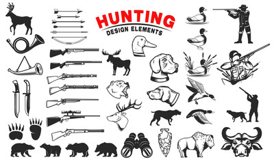 Set of hunting design elements. Hunting dogs, weapon, shooters silhouettes. Deer, bears, wild ducks. Design elements for emblem, sign, label, badge. Vector illustration
