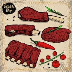 set of beef ribs. Grilled steak with cherry tomatoes, chili pepper, rosemarine on grunge background. Design elements for restaurant menu, poster. Vector illustration