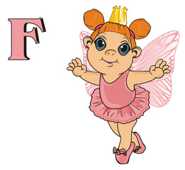 Fairy, wings, magic, fantasy, little, cartoon, girl,  magic, butterfly, pink, stand, golden, crown, letter, f