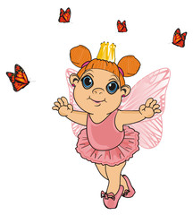 Fairy, wings, magic, fantasy, little, cartoon, girl,  magic, butterfly, stand, crown, many, pink
