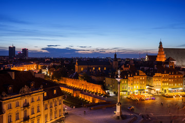 Warsaw Capital City of Poland Twilight Cityscape