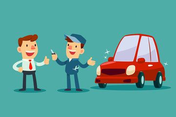 mechanic give a key of repaired car back to his customer