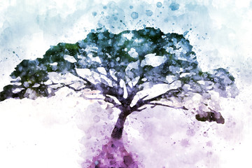 Abstract alone tree on white background, digital watercolor painting