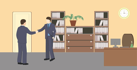 People in room.  Flat style vector illustration. Situation in office. Workplace. Two men in office. Office interior. Business meeting at the office. Business partners.