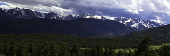 Panorama of a stormy sky over the highest peaks in Rocky Mountain National Park