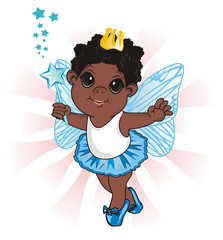 Fairy, wings, magic, fantasy, little, cartoon, girl,  magic, butterfly, crown, blue, wand, stars, afro