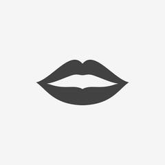 Woman lips monochrome icon. Kiss print vector illustration.