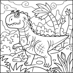 Cartoon funny tyrannosaurus, coloring book