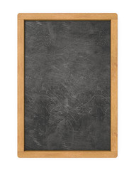 Blank Menu Board. 3D render of Chalkboard with wooden frame. Scratched and worn texture. Blank for Copy Space.