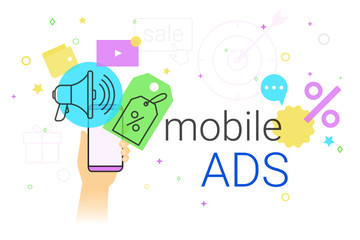 Mobile ads and marketing on smartphone creative concept vector illustration. Human hand holds smart phone with promo discounts and sale offer. Online advertising as web baners and search results