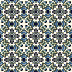 Abstract symmetric seamless pattern. Decorative background in ethnic style. The rich decor of the shapes and lines for design of cloth or paper. Vector illustration.