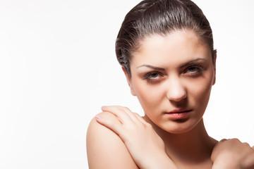 Gorgeous model with wet hairs in studio photo. Wet hairs. Studio posing