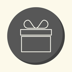 Gift or cake in a round box with a bow, vector round linear icon with the illusion of volume, simple color change
