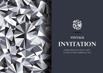 invitation card diamond background vector