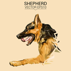 German shepherd Dog animal low poly design. Triangle vector illustration.