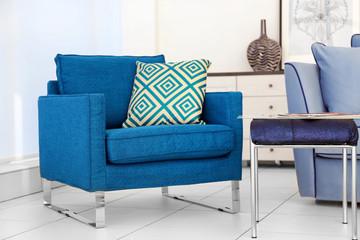 New armchair in modern room interior. Minimalism concept