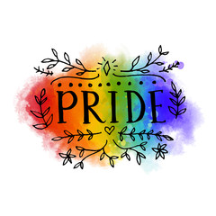 Pride word on rainbow flag of LGBT parade. Bright artistic spectrum with hand drawn lettering.